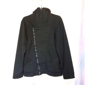 Black Polyester Slant Zip Hoodie